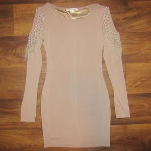 Forever 21 Dress Long Sleeve Brown Silver Beads